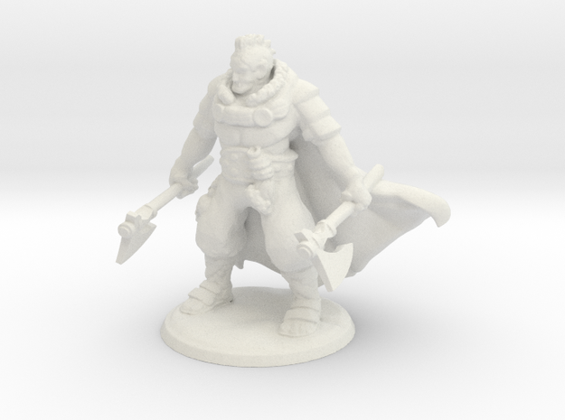 Half Orc Barbarian in White Natural Versatile Plastic