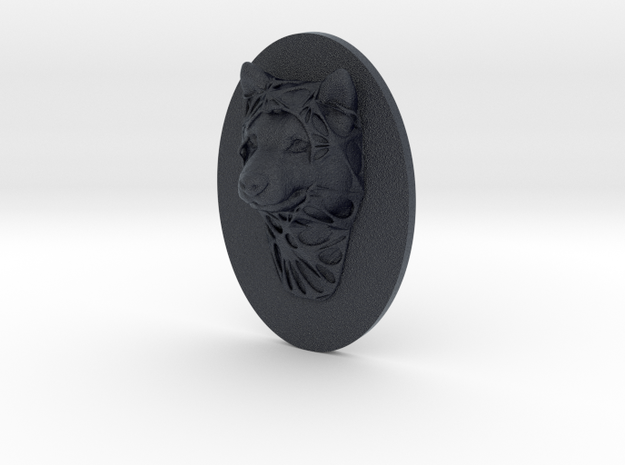 Dog Face + Half-Voronoi Mask (001) in Black Professional Plastic