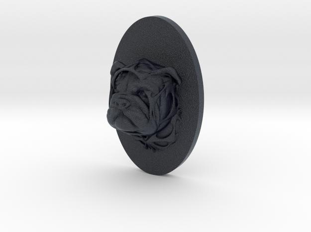 Bulldog Face + Half-Voronoi Mask (001) in Black Professional Plastic