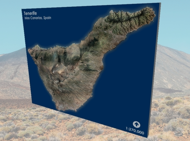 Tenerife Map, Canary Islands - Large in Matte Full Color Sandstone