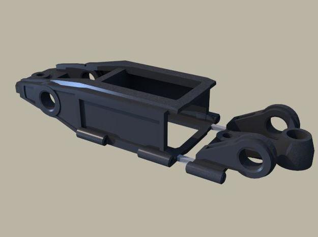 1/43 Slot car chassis for HO Boxer style motors 3d printed Adjustable chassis using music wire. It is designed for HO 'boxer style motors and 3/32 axles with bronze bushings