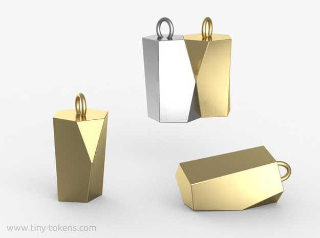 Scutoid Pendant - Version 1 (solid) in Polished Brass