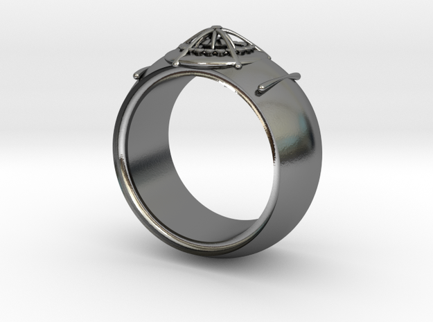 diamond hide ring  in Polished Silver