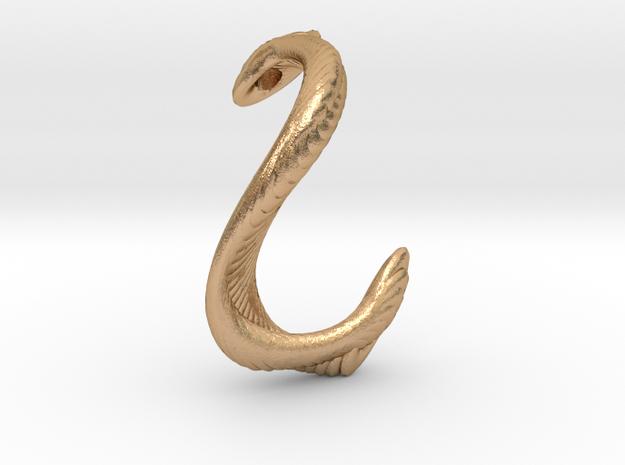 Textured cobra pendant necklace in Natural Bronze