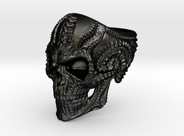 Skull Ring Personalized In Stainless Steel And Sil