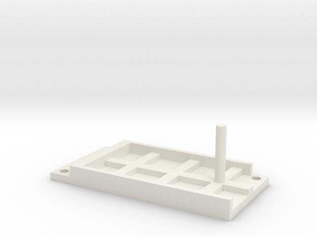 Model Railway Terminal Block Mount (22mm) in White Natural Versatile Plastic