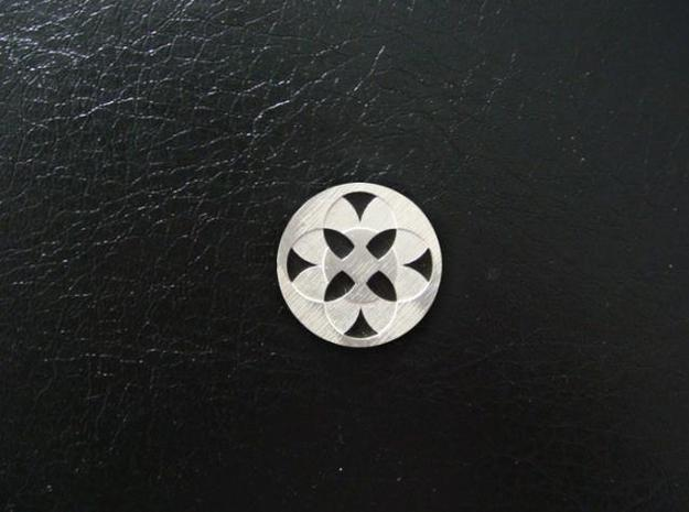 Round Pendant - Four Fountains 3d printed Sterling Silver