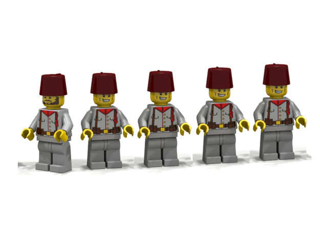 5 x Fez 3d printed Austrian WW1 Bosnian Infantry (Render of an example Usage)