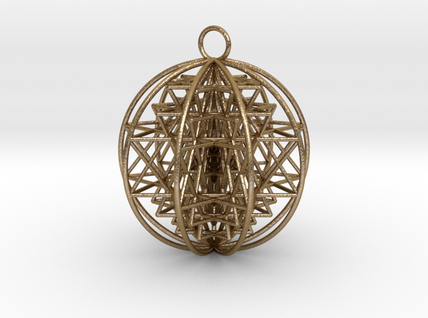 "3D Sri Yantra 9 Sided Optimal 2.2"" in Polished Gold Steel"