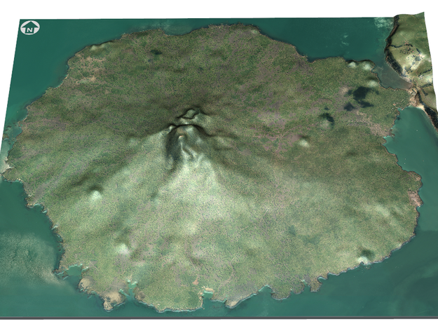 Rangitoto Island Map in Full Color Sandstone