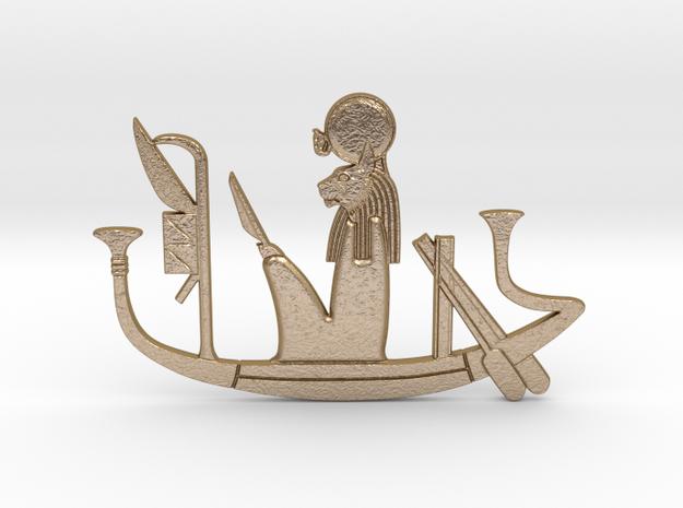 Ra-mau's Solar Barque votive in Polished Gold Steel