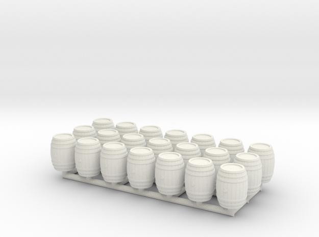 Wooden Barrel 01. HO Scale (1:87) in White Natural Versatile Plastic