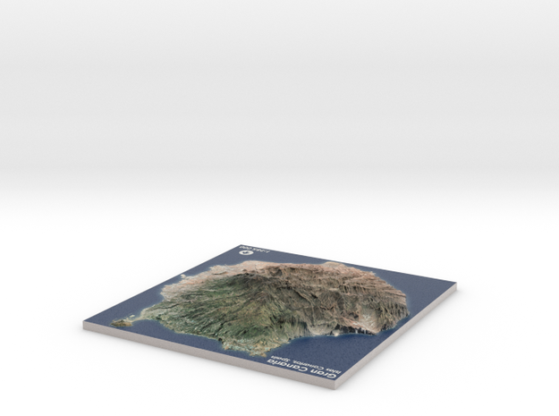 Gran Canaria Map, Canary Islands - Medium in Matte Full Color Sandstone