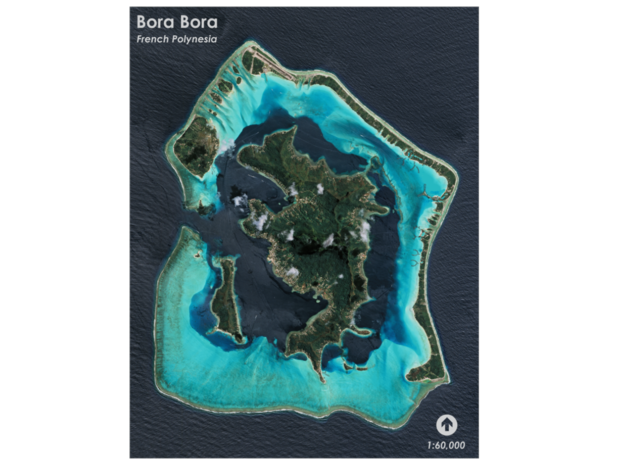 Bora Bora Map, French Polynesia in Matte Full Color Sandstone