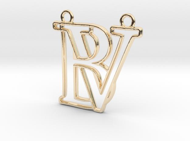 Initials B&V monogram in 14k Gold Plated Brass