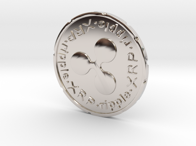 Ripple Coin XRP in Rhodium Plated Brass