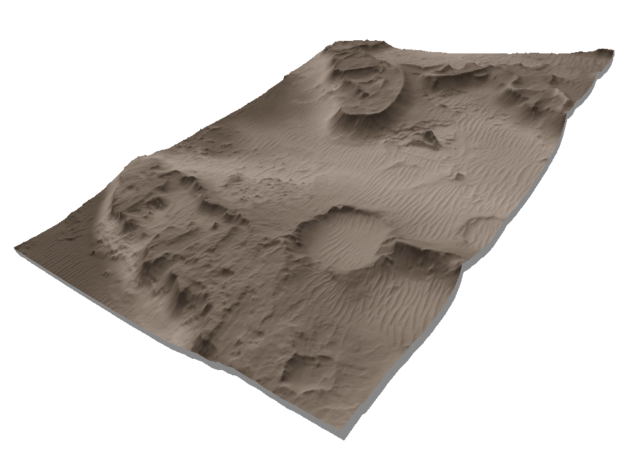 Mars Map: Martian Meanders - Sepia in Glossy Full Color Sandstone