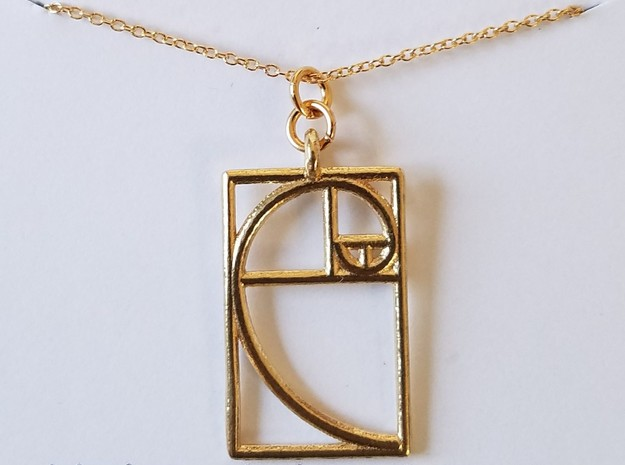 Golden Ratio Pendant in Natural Brass
