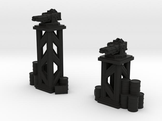 Turrets - DUAL MACHINE GUNS in Black Natural Versatile Plastic