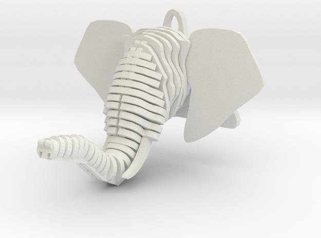 Sliced Elephant head Pendant in White Natural Versatile Plastic