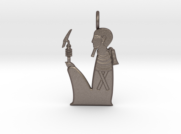 Ptah amulet in Polished Bronzed-Silver Steel