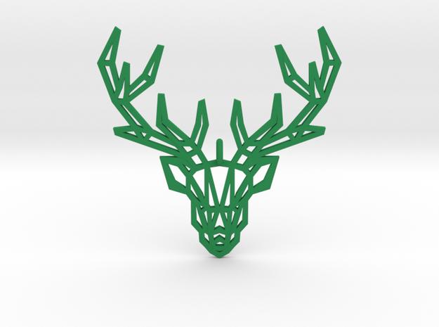 Deer Pendant in Green Processed Versatile Plastic