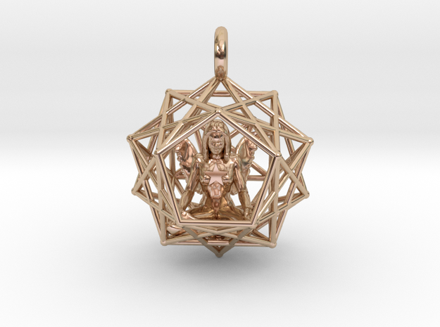 Angel Starship: Sacred Geometry Dodecahedral 27mm in 14k Rose Gold Plated Brass