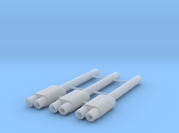 1/64 Scale Exhaust with Dual 1.5mm Tips in Smoothest Fine Detail Plastic