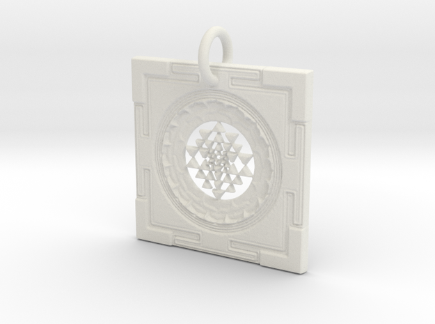 Sri Yantra Pendant in White Natural Versatile Plastic: Small