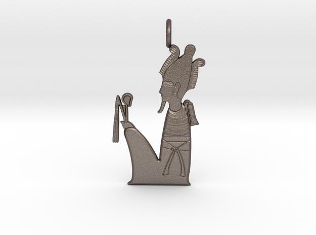 Wesir / Osiris amulet in Polished Bronzed-Silver Steel
