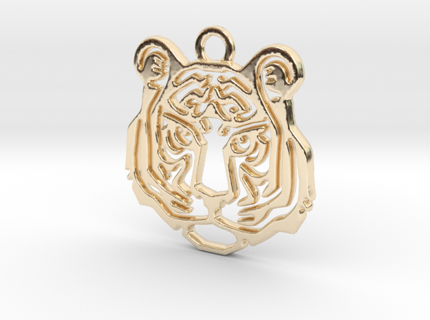 Tiger head Pendant in 14k Gold Plated Brass