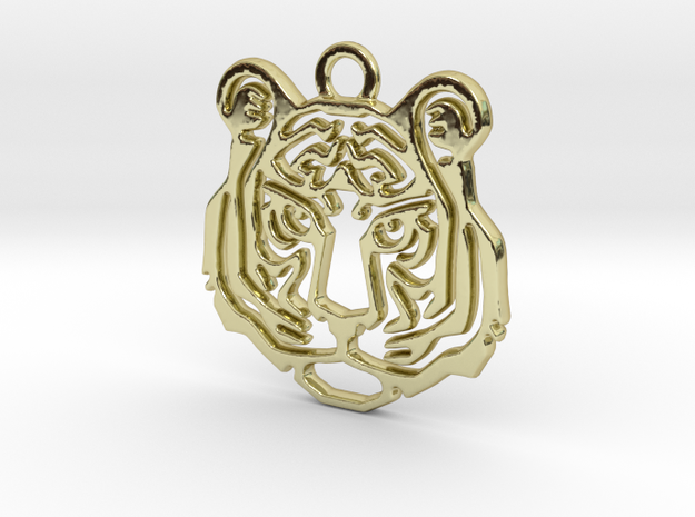Tiger head Pendant in 18k Gold Plated Brass