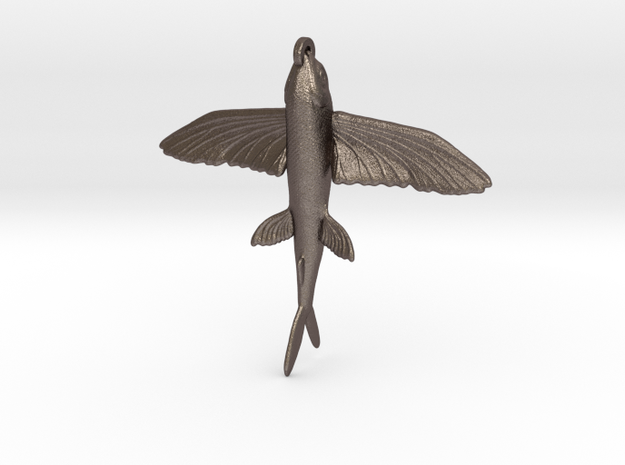 Flying Fish Pendant in Polished Bronzed-Silver Steel