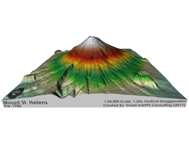 Mount St. Helens Pre-1980 Map: Red/Green Relief in Glossy Full Color Sandstone