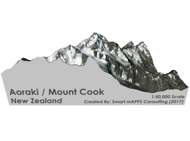 "Aoraki / Mount Cook Map, New Zealand: 6"" in Glossy Full Color Sandstone"