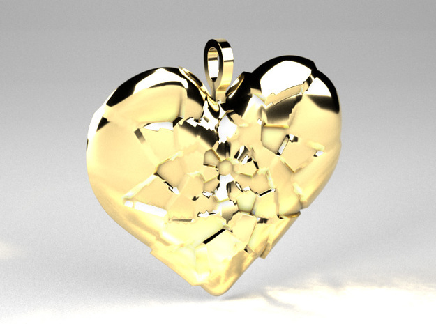 My Shattered Heart - Pendant in Polished Brass