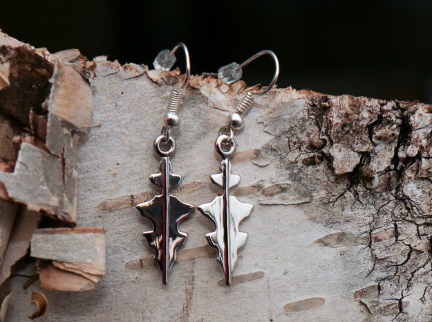"""Custom Earring made from 1 Waveforms (""""I Love You"""" in Rhodium Plated Brass"""