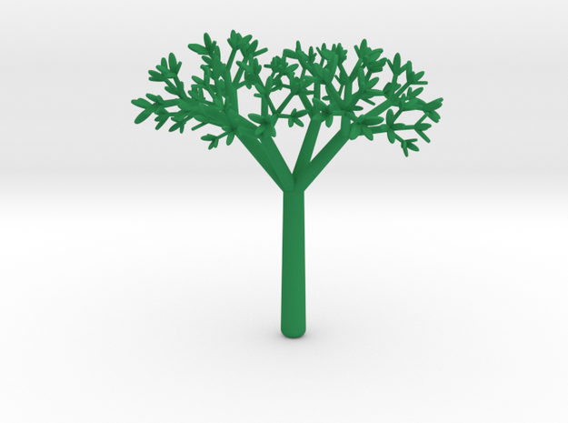 3D Tree V1 in Green Processed Versatile Plastic