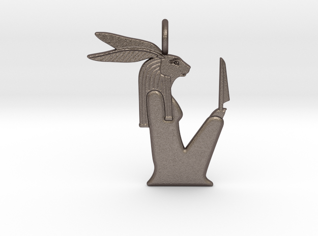 Wenut amulet in Polished Bronzed-Silver Steel