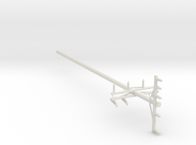 1:24 Scale Cross-Armed Electrical Pole in White Natural Versatile Plastic