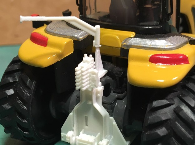(1) YELLOW LARGE TRACKED SCRAPER HITCH W/ GUIDES in Smooth Fine Detail Plastic