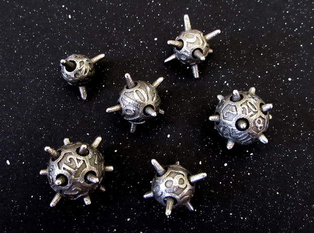 Sputnik Dice Set in Polished Bronzed Silver Steel