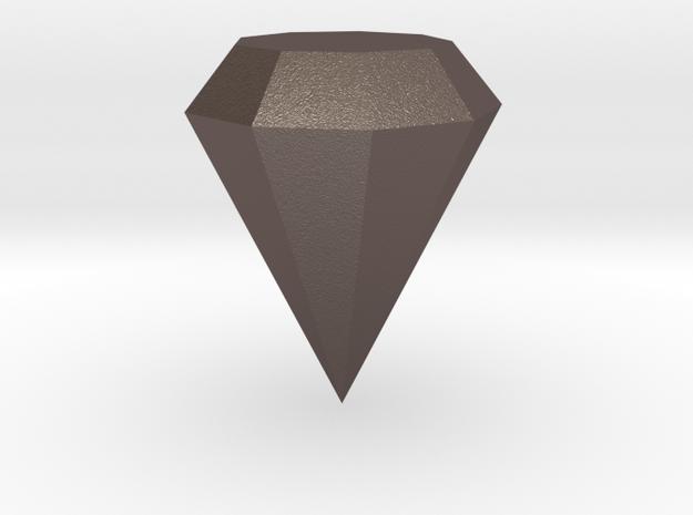 Diamond in Polished Bronzed-Silver Steel