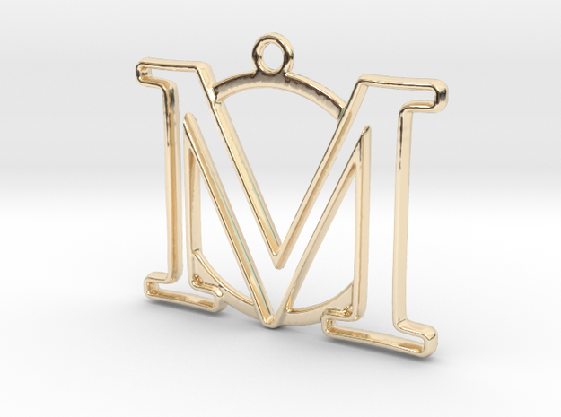 Initial M & circle  in 14k Gold Plated Brass
