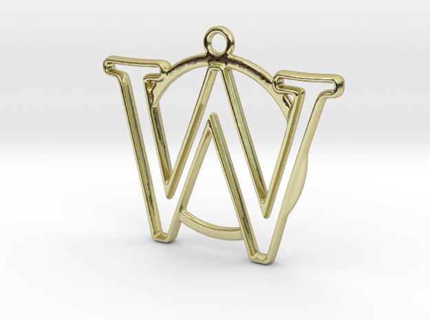 Initial W & circle  in 18k Gold Plated Brass