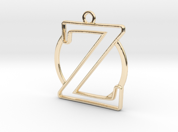 Initial Z & circle  in 14k Gold Plated Brass