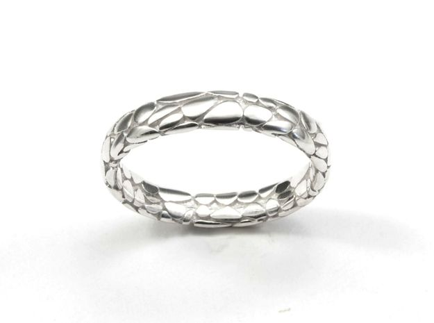 ​Music Skin Ring. in Polished Silver: 7 / 54