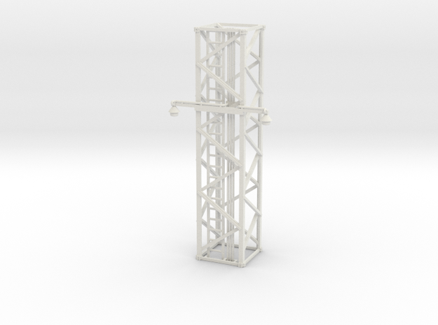 Light Tower Middle With Single Arm Lights 1-87 HO  in White Natural Versatile Plastic