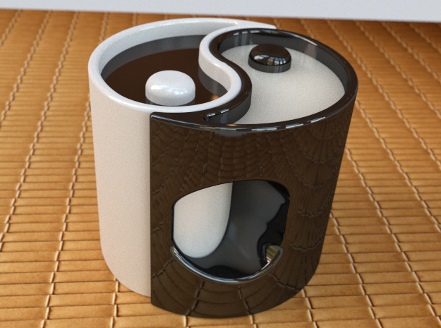 """Yin-Yang Espresso Cup, anticlockwise variant 3d printed This is what it would look like if you bought two in different colours and filled them with different-coloured drinks. The spike in the middle sticks out to make a """"dot""""!"""