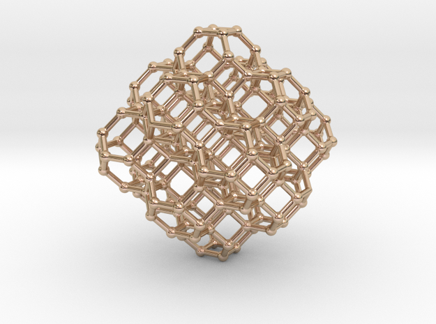 Bitruncated cubic honeycomb - pendant  in 14k Rose Gold Plated Brass